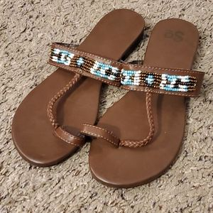 3/$15 So beaded toe strap sandals with braid